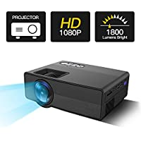 TryAce 1800Lumens Mini Projector Multimedia Home Theater Video Projector Support 1080P HDMI USB SD Card VGA AV for Home Cinema Entertainment Games TV Laptop Home Theater -Black