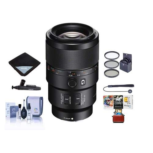 Price comparison product image Sony FE 90mm f / 2.8 Macro G OSS Lens - Bundle with 62mm Filter Kit,  Lens Wrap,  LensPen Lens Cleaner,  Cleaning Kit,  Lens Cap Leash - Mac Software Package