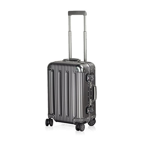 Carry on Spinner Suitcase 20 inch Travel Luggage Upright All Aluminium TSA Approved Hardside Trolley with Double Wheels and Free Travel Organizer for Air Trip Weekenders by TravelKing (Titanium Gray) by TravelKing