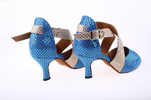Minishion Qj6116 Donna Peep Toe Tacco Alto Camoscio Stelle Scintillanti Salsa Tango Sala Da Ballo Latino Caviglia Avvolgere Sandali Da Ballo Blu