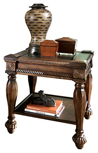 Ashley Furniture Signature Design - Mantera Chair Side End Table - Rustic Style Accent Table - Square - Dark Brown with Beveled Glass Top
