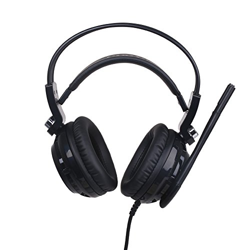 SOMiC G941 7.1 Virtual Surround Sound Effect Gaming Headset with Powerful Bass Intelligent Vibration Clear Voice HD Microphone Cool LED Anti-Interference USB Cord – Clear Voice Edition