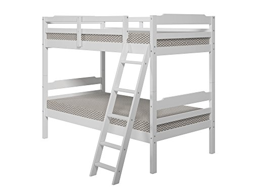 Manhattan Comfort Hayden 3.0 Collection Solid Pine Wood Twin Size Convertible Children's Bunk Bed Set, Twin, Matte White