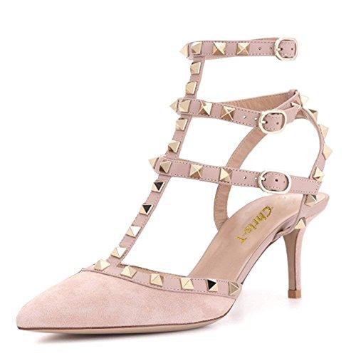Sandalo cinghiettiSandali Strap con Stud Gold Chris Pink Tacco Costellato Punta a Suede Vestito Heel Punta Pompe Donne Pink Kitten T Studs XwFRz