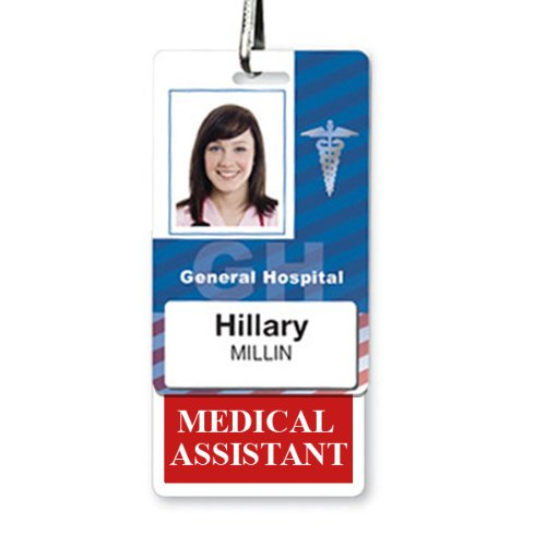 MEDICAL ASSISTANT Vertical Badge Buddy with RED Border by Specialist ID, Sold Individually