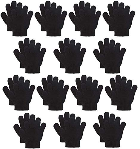 Kids Warm Magic Gloves,14 Pairs black Boys Girls Winter Stretchy Knit Gloves (Black, 6-12 Years) for $<!--$14.99-->