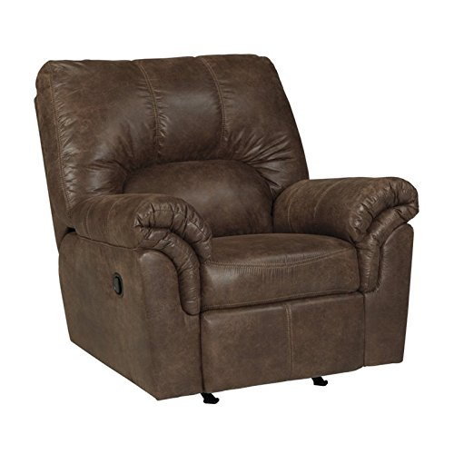 Ashley Furniture Signature Design - Bladen Plush Upholstered Rocker Recliner - Contemporary - Coffee Brown - Upholstered Rocker Recliner