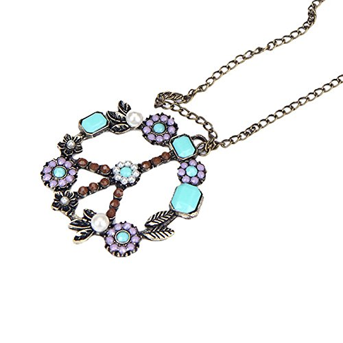 Haluoo Chic Colorful Turquoise Beads Pendant Necklace,Boho Handmade Peace Symbol Pearl Pendant Necklace Engraved Flower and Rectangle Gemstones Coin Pendant Antique Sweater Chain Necklace (Purple)