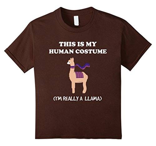 Kids Funny Llama T-Shirt Gift This Is My Human Costume Tee 10 Brown (Peru Un Costume)