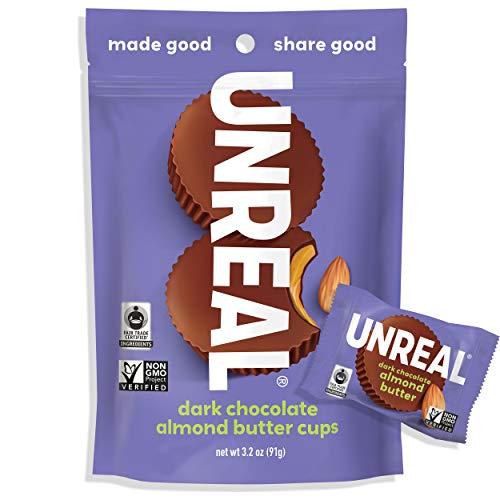 UNREAL Dark Chocolate Almond Butter Cups | Vegan, Gluten Free, Less Sugar | 6 Bags