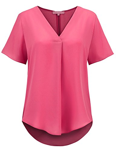 (Regna X Women Short Sleeve V Neck Curved Hem Loose Soild Blouse Tunic Top Pink M)