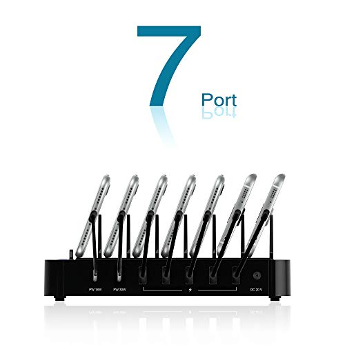 Kavalan 7 Port USB Charging Station Dock with 2 PD Charging Port, Charging Organizer Universal Desktop Tablet & Smartphone Multi-Device Charger Hub