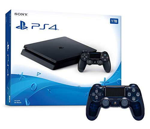 Playstation 4 1TB Slim Console and Extra 500 Million Limited Edition Translucent Blue Dualshock 4 Wireless Controller Bundle
