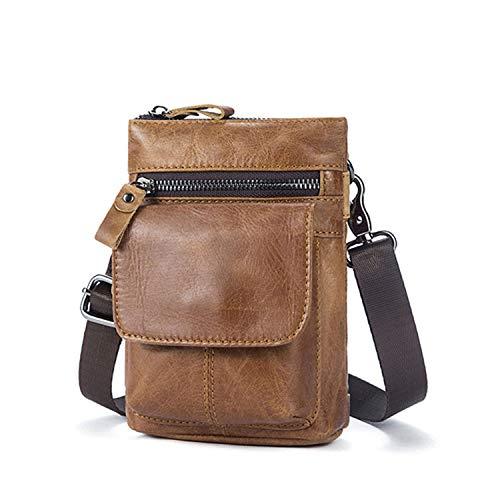 Men's Waist Bag Genuine Leather Fanny Packs Crossbody Messenger Bag Male Small Hook Belt Bag Cowhide Travel Waist Pouch,Yellow Coffee