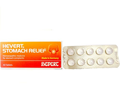 Hevert Germany Stomach Pain Relief for Dyspepsia, abdomnial Cramps, Flatulence, Nausea, Vomiting. Contains Carbo Veg 3X, Mag Phos 3X, Nux Vomica 4X. 40 Tablets