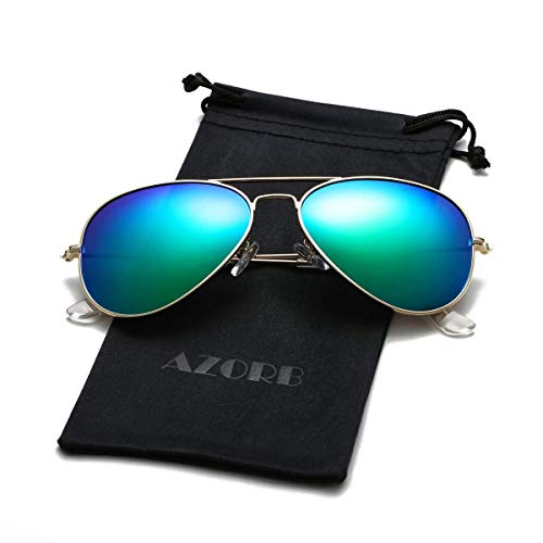 AZORB Classic Polarized Aviator Sunglasses for Men Women, 102% UV Protection (Gold Frame/Green Mirrored)