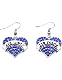 Air Force Earrings Crystal Adorned Heart Shaped Pendant French Hook Earrings Commemoration Day Jewelry