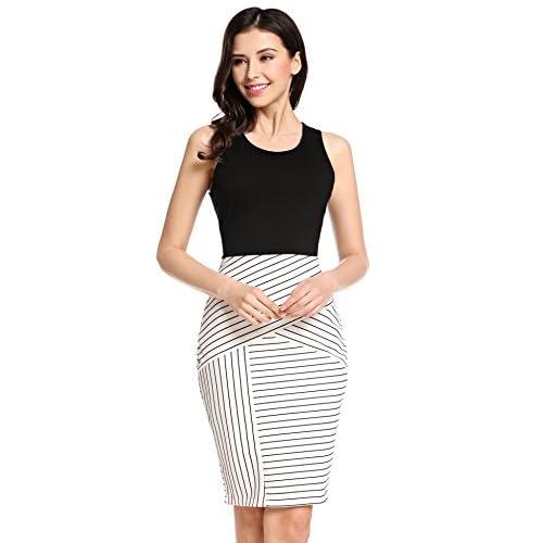good Beyove Women s Sexy Patchwork Striped Sleeveless Wear to Work Business  Bodycon Pencil Dress e07874c54