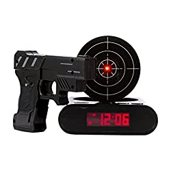 Smart Mall BF1821 Digital Target Alarm Gun Clock, Infrared Gun and Recoil Sound Effects, Choose from Three Featured Game Modes, Challenge Your Aiming and Reaction Time Black/White/Camoflage