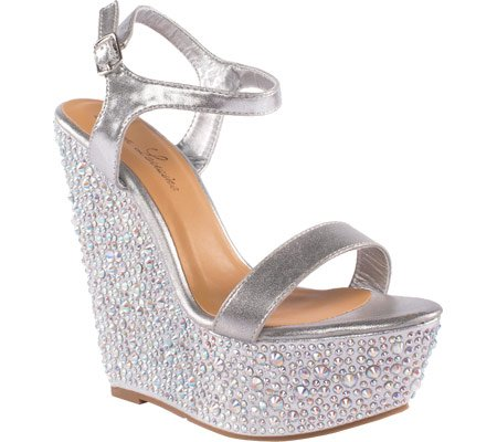 Lauren Lorraine Women's Pari Jeweled Ankle Strap Wedge B01EUL2732 10 B(M) US|Silver