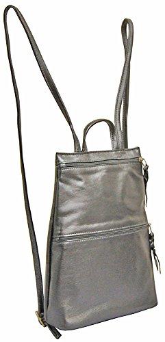 Sven Handbags Slim Lea Backpack - 326 Dark Pewter by SVEN DESIGNS