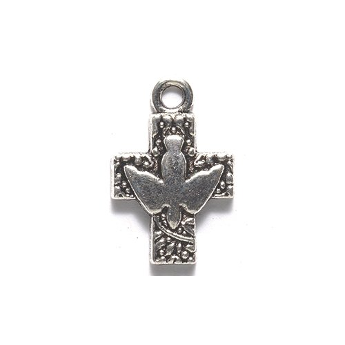 Shipwreck Beads Zinc Alloy Cross with Dove Pendant, 16 by 24mm, Silver, 30-Pack