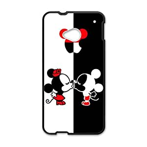 Cartoon Disney Micky And Minie Kiss Black HTC M7 case