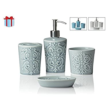 Comfify 4-Piece Vintage Damask Ceramic Bath Accessory Set Bundle with Liquid Soap Dispenser, Toothbrush Holder, Tumbler and Soap Dish, Contour Grey