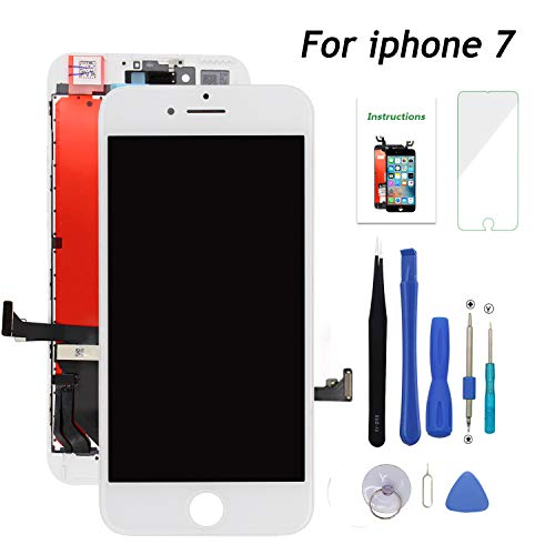 for iPhone 7 White Replacement Screen,Fit iPhone 7 LCD Display Touch Digitizer Screen Full Assembly with Repair Tool Kit and Screen Protector