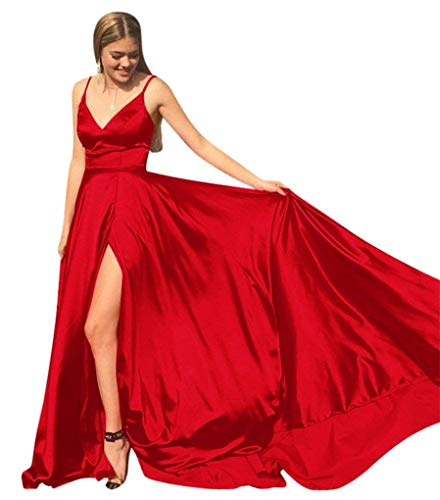 Satin Dresses Red High Prom Straps Split Prom 2018 Spaghetti CCBubble Evening Dress 6HSnwd1qUH