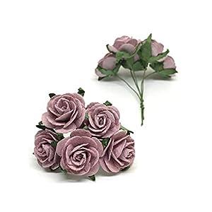 """1"""" Mauve Paper Flowers Paper Rose Artificial Flowers Fake Flowers Artificial Roses Paper Craft Flowers Paper Rose Flower Mulberry Paper Flowers, 20 Pieces 2"""
