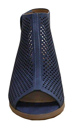 Cambridge Select Slingback À Découpes Au Laser Pour Femmes Talon Empilé Pompe Bootie Bleu
