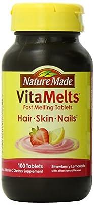 Nature Made Vitamelts Hair-Skin-Nails Tablets, Vitamin C + Biotin, Strawberry Lemonade, 100 Count