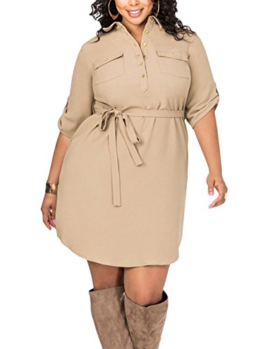 khaki belted shirt dress - 4