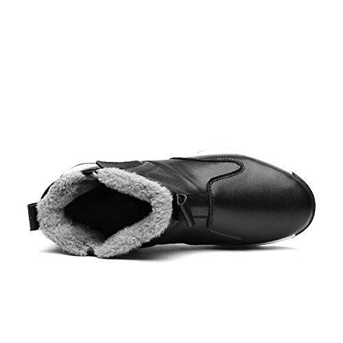 Enllerviid Heren Pu Lederen Schoenen Instap Enkels Sneakers Hoge Top Snowboots Met Bontvoering Zwart