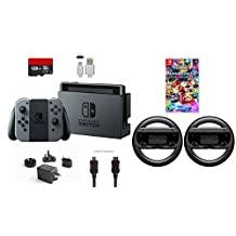 Nintendo Switch 6 items Bundle:Nintendo Switch 32GB Console Gray Joy-con,128GB Micro SD Card,,Mario Kart 8 Deluxe Mytrix HDMI Cable.Type C Cable,Nintendo Wireless Wheel Set of T(US Version, Imported)