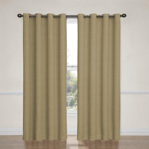 Eclipse 12966052063TAN Bobbi 52-Inch by 63-Inch Grommet Blackout Single Window Curtain Panel, Tan