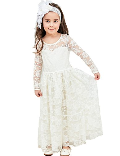 Topmaker Maxi Hollow Lace Flower Girl Dress (8-9 Years, Off-White) ()