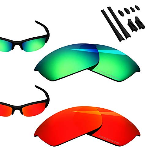 - BlazerBuck Anti-salt Polarized Replacement Lenses for Oakley Flak Jacket - Fire Red & Emerald Green