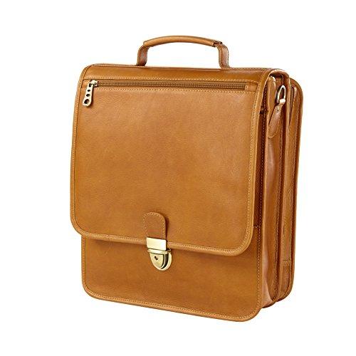 Vachetta Upright Vertical Leather Brief (TAN)