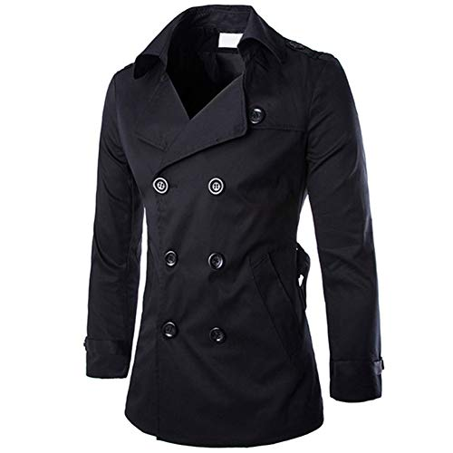 Men's Double Breasted Trenchcoat Notch Lapel Stylish Belted Windbreaker Slim Fit Short Coat Black ()