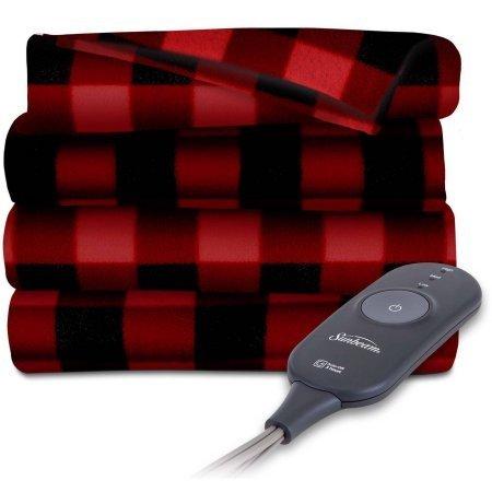 Sunbeam Electric Heated Fleece Throw, 50 x 60, Red/Black - Fleece Plaid Black