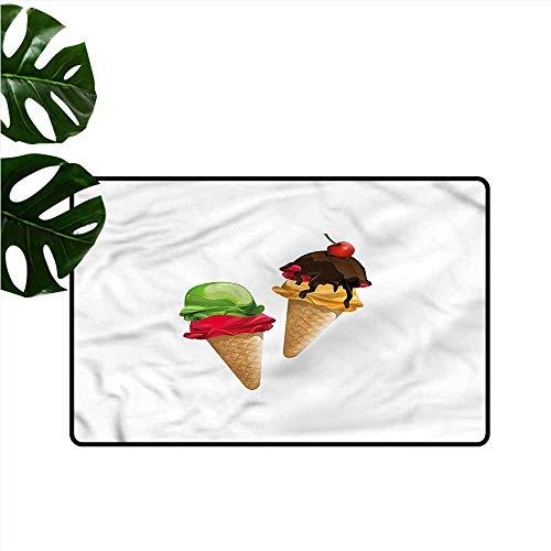 DUCKIL Non-Slip Door mat Ice Cream Frozen Desserts and Sauce Country Home Decor W35 xL47