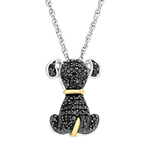 1/5 ct Black Diamond Dog Pendant in Sterling Silver & 14K Gold, 18
