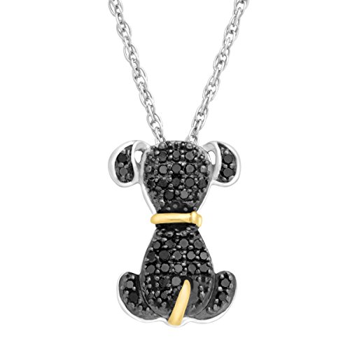 1/5 ct Black Diamond Dog Pendant in Sterling Silver & 14K Gold, 18