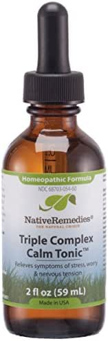 NativeRemedies Triple Complex Calm Tonic - Natural Homeopathic Formula to Relieve Symptoms of Occasional Anxiety, Stress, Worry and Nervous Tension - 59 mL