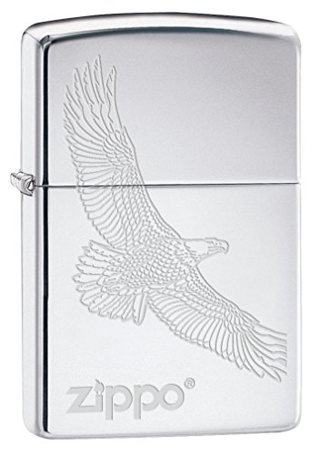 Zippo Lighter: Engraved Soaring Eagle - High Polish Chrome 79491