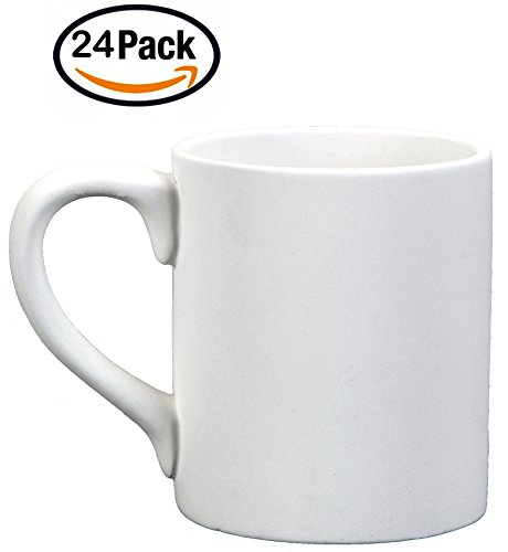 Creative Hobbies 12 Oz Plain Mug, Case of 24, Unfinished Ceramic Bisque, With How To Paint Your Own Pottery Booklet
