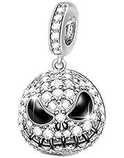 Annmors Halloween Jack Skull Dangle Charm 925 Sterling Silver Pendant,Girl Jewelry Beads Gifts for Women Bracelet&Necklace T615