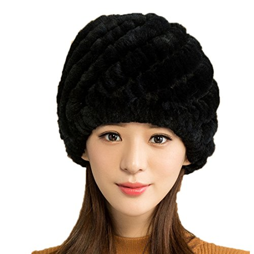 Zegeon Women's Knit Rex Rabbit Hat Beanie Winter Warm Fur Hats (Black) (Hat Rabbit Rex)